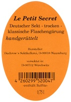 Cuvée Rosé Sekt trocken Le Petit Secret - Duchrows Sektkellerei