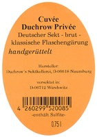 Cuvée Sekt brut Duchrow Privée - Duchrows Sektkellerei